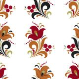 Abstract stylized flower seamless pattern, vector background. Red, orange, green and black decorative flower, berries and curls on. A white backdrop. For fabric Stock Photos