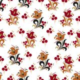 Abstract stylized flower seamless pattern, vector background. Red, orange, green and black decorative flower, berries and curls on. A white backdrop. For fabric Stock Image