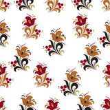 Abstract stylized flower seamless pattern, vector background. Red, orange, green and black decorative flower, berries and curls on. A white backdrop. For fabric Stock Images