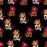 Abstract stylized flower seamless pattern, vector background. Red, orange, green and white decorative flower, berries and curls on. A black backdrop. For fabric Royalty Free Stock Photography