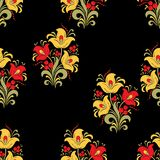 Abstract stylized flower seamless pattern, vector background. Red, yellow, green decorative flower, berries and curls on a black b. Ackdrop. For fabric design Royalty Free Stock Images