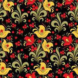 Abstract stylized flower seamless pattern, vector background. Red, yellow, green decorative flower, berries and curls on a black b. Ackdrop. For fabric design Royalty Free Stock Photography