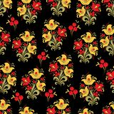 Abstract stylized flower seamless pattern, vector background. Red, yellow, green decorative flower, berries and curls on a black b. Ackdrop. For fabric design Stock Images