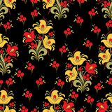 Abstract stylized flower seamless pattern, vector background. Red, yellow, green decorative flower, berries and curls on a black b. Ackdrop. For fabric design Stock Photos