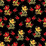 Abstract stylized flower seamless pattern, vector background. Red, yellow, green and orange decorative flower, berries and curls o. N a black backdrop. For Stock Images