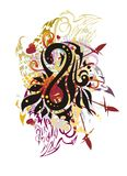 Grunge colorful number eight splashes with red hearts. Abstract stylized number 8 formed by a snake with floral elements, arrows and linear patterns royalty free illustration