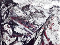 Abstract stylized oil painting mountains on textured canvas. Abstract stylized oil painting on textured canvas Royalty Free Stock Image
