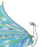 Abstract stylized peacock greeting card. Invitation. stock illustration