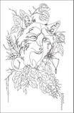 Abstract stylized tatoo fox with autumn decorations, vector illustartion isolated Stock Image
