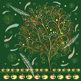 Abstract stylized tree with feathers. And apples on dark green background stock illustration