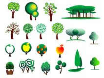 Abstract stylized tree icons Royalty Free Stock Photos
