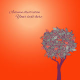 Abstract stylized tree. Vector illustration. For cards. Autumn background Stock Images