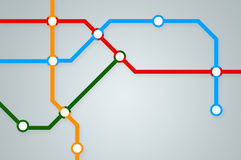 Abstract subway map with colorful lines. And stations Royalty Free Stock Photo