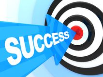Abstract success. Blue arrow in target (done in 3d Stock Illustration