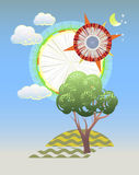 Abstract summer background. Composition of clouds, trees and sky. EPS 10 vector. Transparency, blending modes used Royalty Free Stock Image