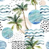 Art illustration with palm tree, doodle and marble grunge textures. Abstract summer background. Art illustration with palm tree, doodle and marble grunge royalty free illustration
