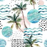 Art illustration with palm tree, doodle and marble grunge textures. Abstract summer background. Art illustration with palm tree, doodle and marble grunge stock illustration