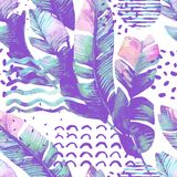 Art illustration with tropical leaves, doodle, grunge textures, geometric shapes in vanilla colors. Stock Photography