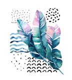 Art illustration with tropical leaves, doodle, grunge textures, geometric shapes in 80s, 90s minimal style. Abstract summer background. Art illustration with Stock Images