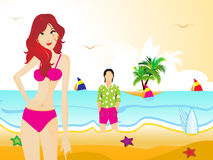 Abstract summer background with girl Royalty Free Stock Image