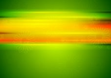 Abstract summer background with glowing stripes. Abstract bright green summer background with orange stripes and camomiles. Vector design Stock Image