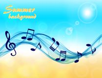 Abstract summer background with music notes and a treble clef. Against a sea breeze Royalty Free Stock Photos
