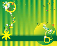 Abstract summer banner. Abstract colored illustration with circle shapes, small stars, flowers and butterflies Royalty Free Stock Photos