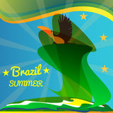 Abstract summer brazil card with toucan bird and stars over rays and sea background Royalty Free Stock Image