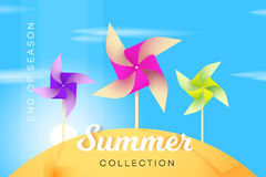 Abstract Summer Collection Banner With Multicolored Paper Windmill. Advetising Vector Illustration Royalty Free Stock Photography