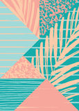 Abstract summer composition with hand drawn vintage texture and geometric elements. Royalty Free Stock Images