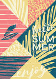 Abstract summer composition with hand drawn vintage texture and geometric elements. Stock Photography