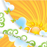 Abstract summer design background. With sun Stock Image