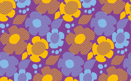 Abstract summer floral seamless pattern on violet background. Stock Photos