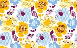 Abstract summer floral seamless pattern on white background. Royalty Free Stock Images