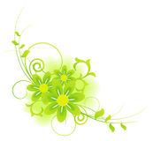 Abstract summer flowers and herbs composition. Abstract green colors summer flowers and herbs composition stock illustration