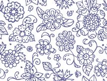 Abstract summer flowers. Seamless pattern in doodle and cartoon style. Vector. EPS 10 Stock Image