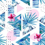 Abstract summer geometric background with exotic flower and leaves Stock Photography