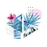 Abstract summer geometric elements with exotic flower and leaves. Triangles with watercolor tropical flowers, palm leaf, marble, grunge textures, doodles. Hand stock illustration