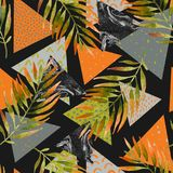 Abstract summer geometric seamless pattern. Triangles with watercolor palm leaf, marble grunge textures. Abstract geometric background in retro vintage 80s 90s Stock Photography