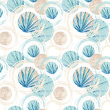 Abstract summer geometric seamless pattern. Circles with fan palm leaf and marble grunge textures. Pastel beach background in retro vintage 80s or 90s. Hand Royalty Free Stock Photo