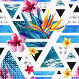 Abstract summer geometric seamless pattern with exotic flowers. Abstract summer geometric seamless pattern. Triangles with watercolor tropical flowers, palm Royalty Free Stock Photo