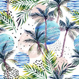 Abstract summer geometric seamless pattern. Geometric shapes with watercolor palm tree, leaf, marble, grunge texture. Water color background in retro vintage Stock Images