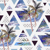 Abstract summer geometric seamless pattern. Triangles with watercolor palm tree, leaves, marble, grunge texture. Water color background in retro vintage 80s or Stock Photo