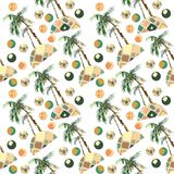 Abstract summer geometric seamless pattern. Watercolor palm tree, circles background. Water color floral, minimal elements. Hand p. Ainted tropical illustration Stock Photos