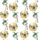 Abstract summer geometric seamless pattern. Watercolor palm tree, circles background. Water color floral, minimal elements. Hand p. Ainted tropical illustration Stock Image