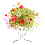 Abstract summer girl. Abstract summer flower girl. EPS10 Stock Images