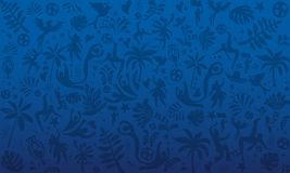 2019 Conmeball Copa America Abstract blue Brazilian Summer Game Competition vector background. World of Brasil pattern soccer ball, award cup, dinamic shapes royalty free illustration