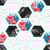 Abstract summer hexagon shapes seamless pattern Stock Photos