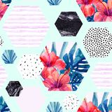 Abstract summer hexagon shapes seamless pattern Stock Images