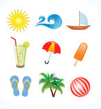 Abstract summer icon set Stock Photography